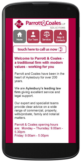 marketing agency watford examples of our work uxbridge amersham harrow specialist marketing for sme & b2b parrott-and-coales-solicitors-mobile-site
