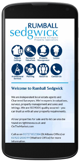 marketing agency watford examples of our work uxbridge amersham harrow specialist marketing for sme & b2b rumball-sedgwick-estate-agents-mobile-site