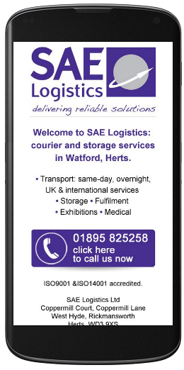 marketing agency watford examples of our work uxbridge amersham harrow specialist marketing for sme & b2b sae-logistics-mobile-site